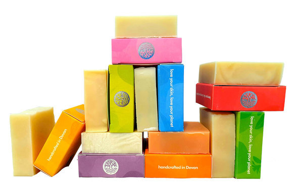 stack of 100% natural Palm oil free soap made by seatree cosmetics