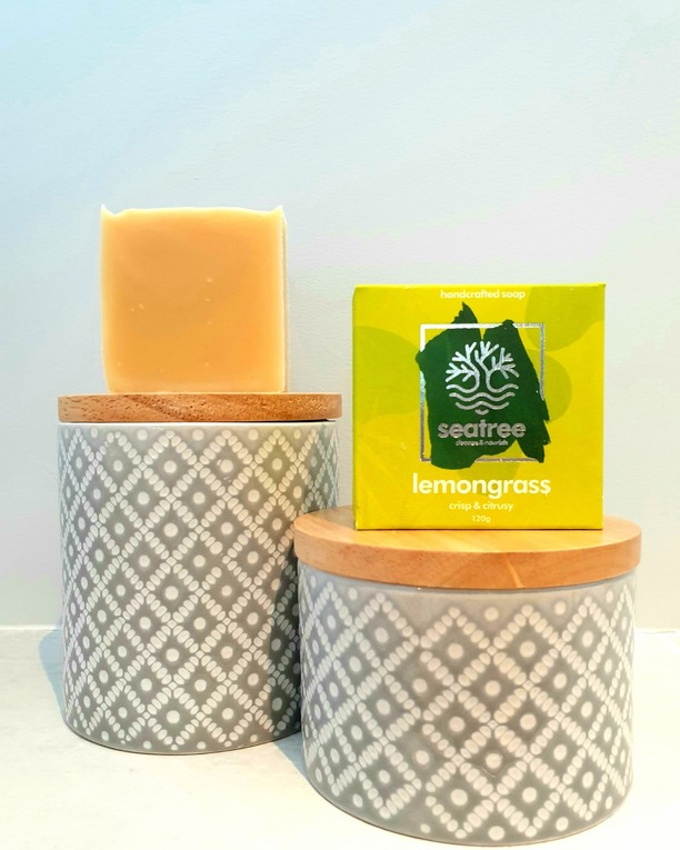 natural lemongrass palm oil free soap from seatree cosmetics