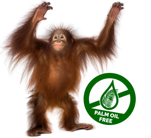 picture of orangutan and palm oil free logo